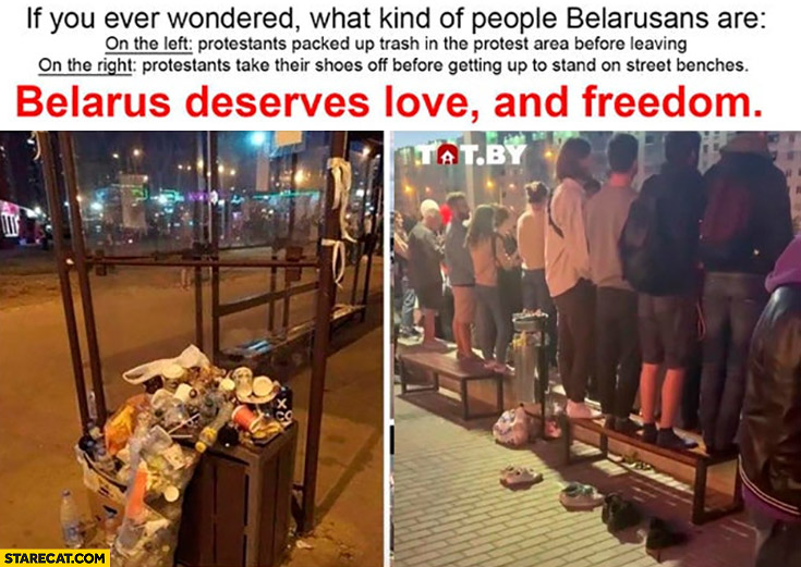 If you ever wondered what kind of people Belarusians are: packed up trash, took shoes off