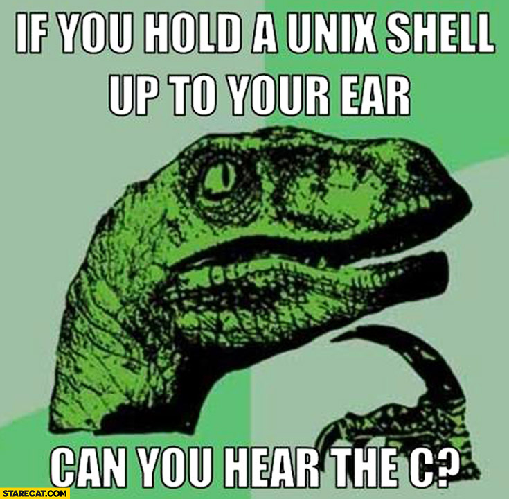 If you hold a unix shell up to your ear can you hear the C