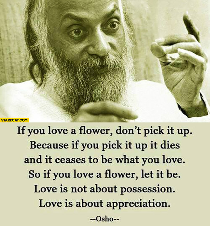 If you love a flower don't pick it up, because if you pick it up it dies. Let it be, love is not about possession, it's about appreciation