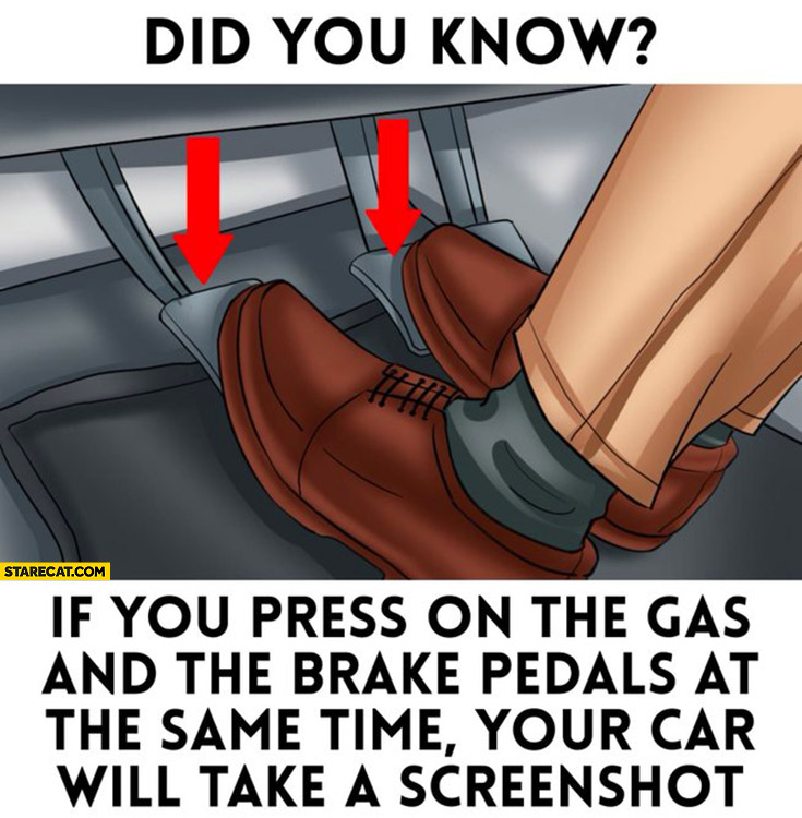If you press on the gas and the brake pedals at the same time your car will take a screenshot, did you know?