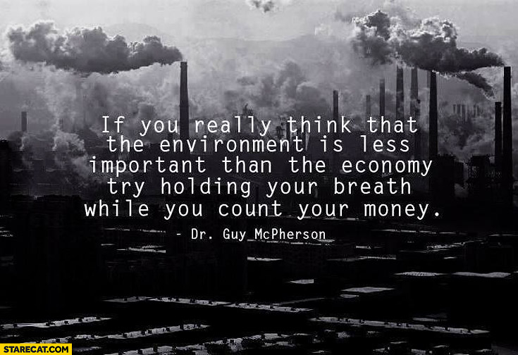 If you really think environment is less important try holding your breath while you count your money