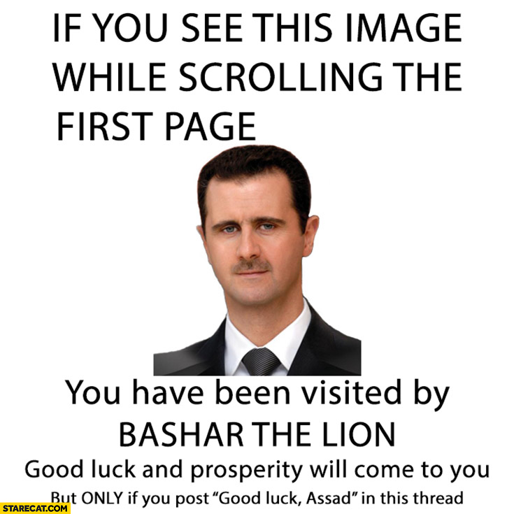 If you see this you have been visited by Bashar the Lion good luck will come to you if you post good luck Assad