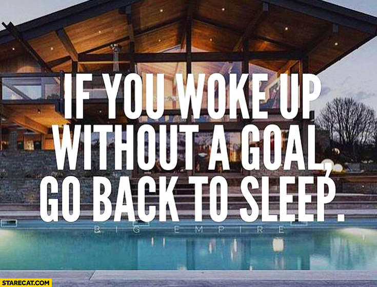 If you woke up without a goal go back to sleep