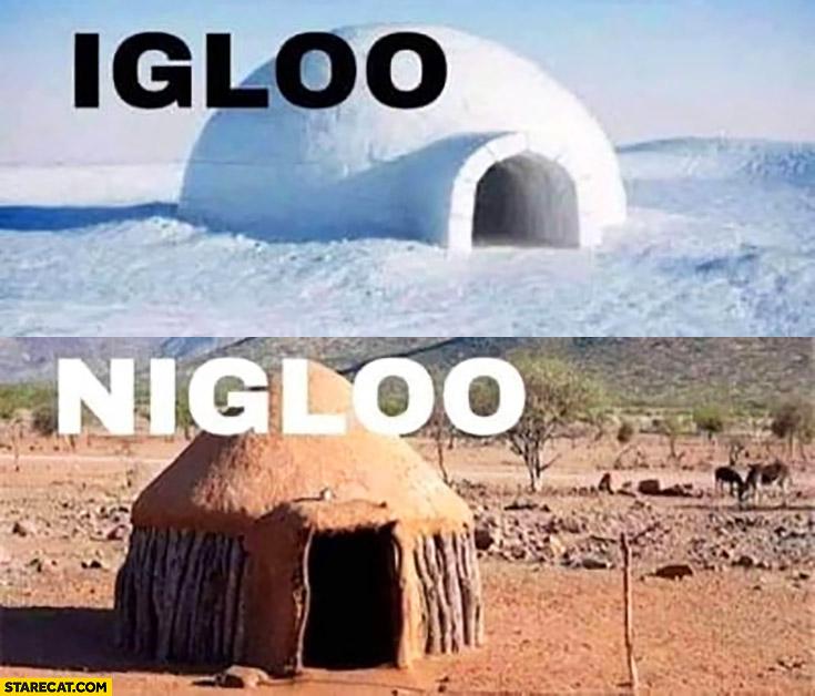Igloo vs nigloo hut in Africa