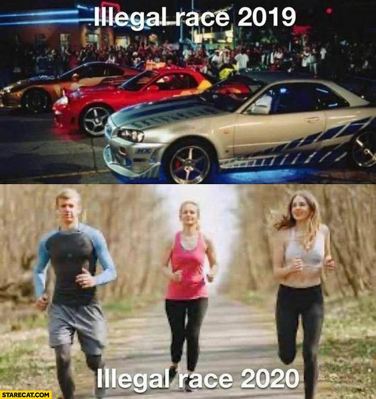 Illegal race 2019 cars vs illegal race 2020 running outside