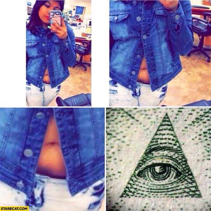 Illuminati eye navel bellybutton