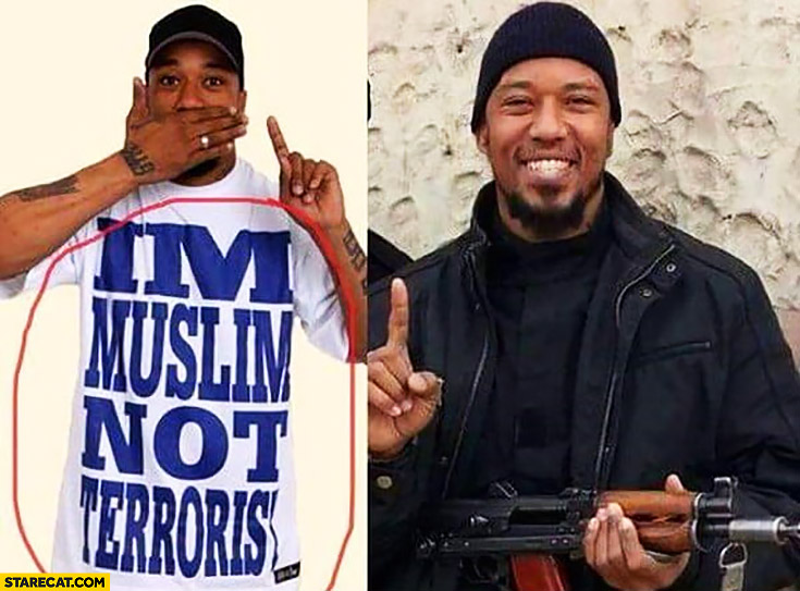 I'm muslim not terrorist t-shirt guy, actually is an islamic terrorist