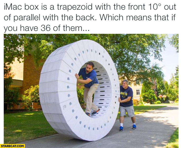 iMac box is a trapezoid with the front 10 degrees out of parallel with the back which means that if you have 36 of them you can build full circle