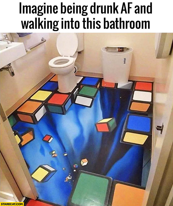 Imagine being drunk AF and walking into this bathroom falling bricks abyss