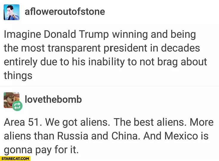Imagine Donald Trump winning and being the most transparent president. Area 51 we got aliens the best aliens more aliens than Russia and China and Mexico gonna pay