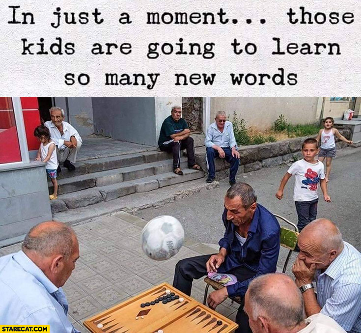 In just a moment those kids are going to learn so many new words ball falling to board game