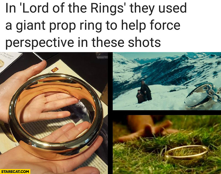 In Lord of the Rings they used a giant prop ring to help force perspective in these shots