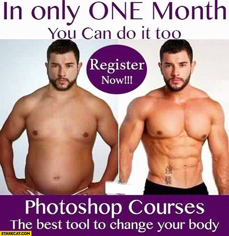 In only one month you can do it – perfect body. Photoshop courses – best tool to change your body
