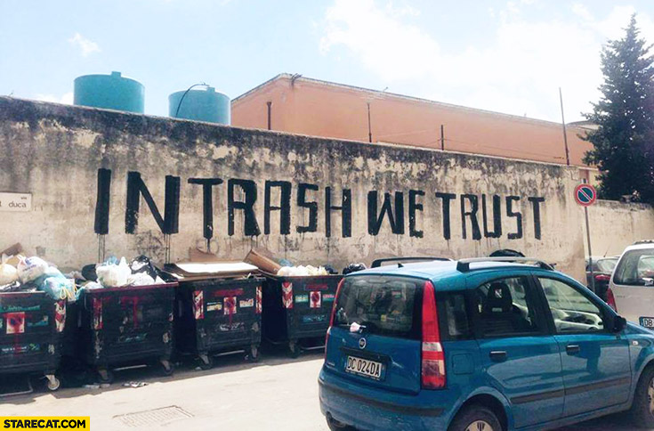 In trash we trust wall quote painting