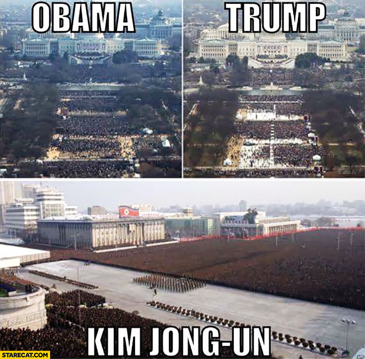 Inauguration comparison Obama, Trump, Kim Jong Un