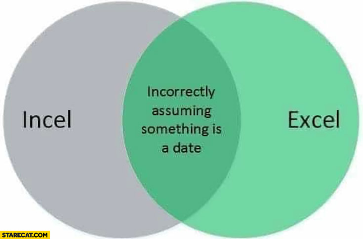 Incel, Excel incorrectly assuming something is a date graph