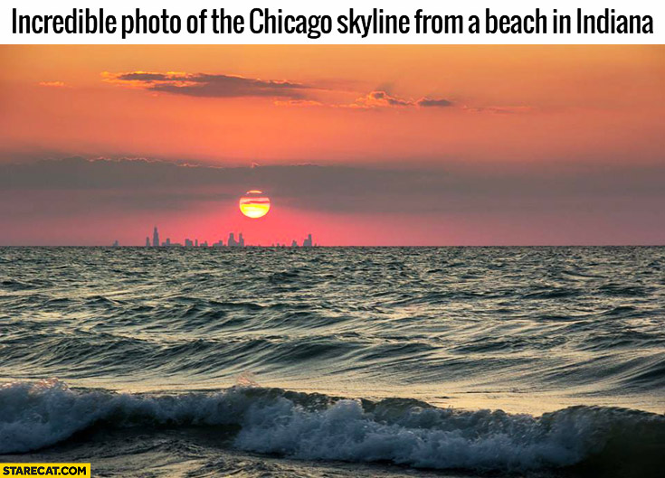 Incredible photo of the Chicago skyline from a beach in Indiana