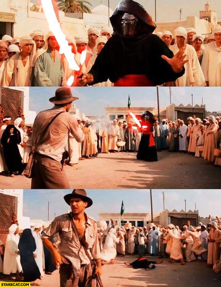 Indiana Jones shoots Kylo Ren Han Solo Star Wars