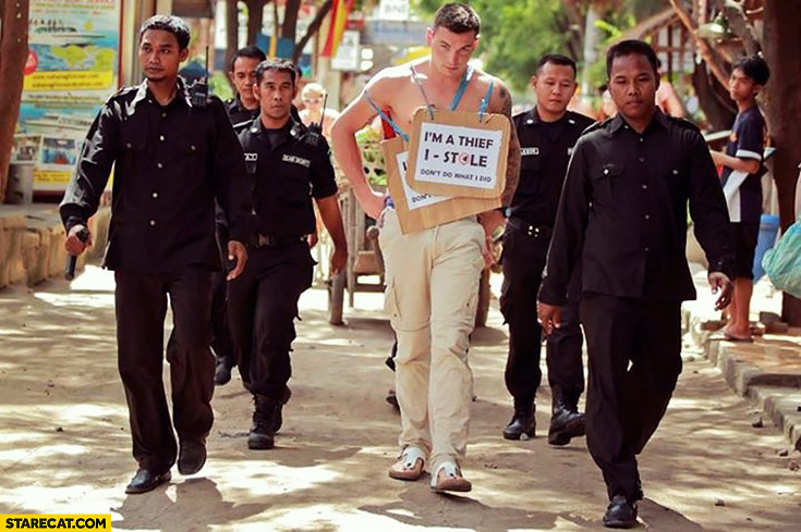 Indonesia tourist punished for stealing: I'm a thief I stole sign