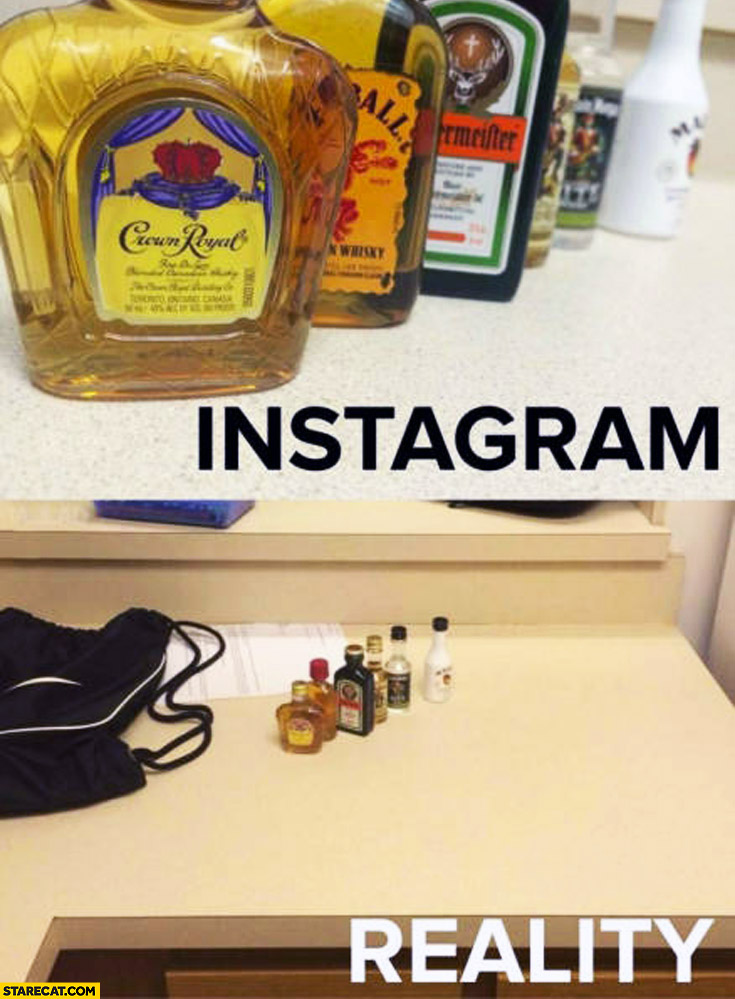 Instagram reality drinks booze size