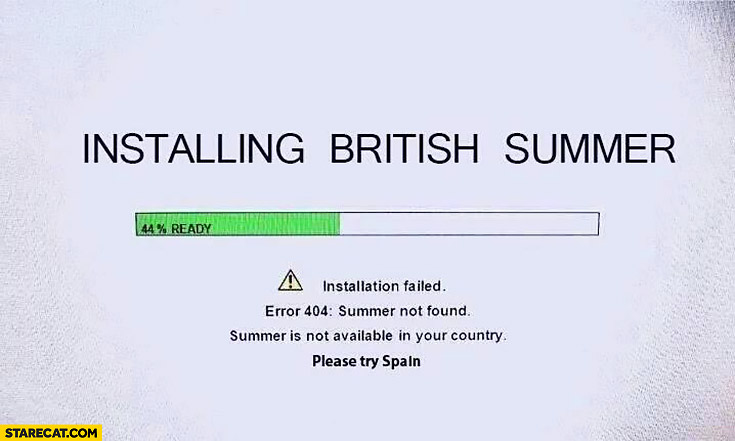 Installing British summer, installation failed, summer not found. Not available in your country, please try Spain