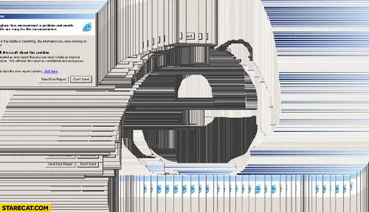Internet Explorer Edge logo made of Windows lagging screen trolling