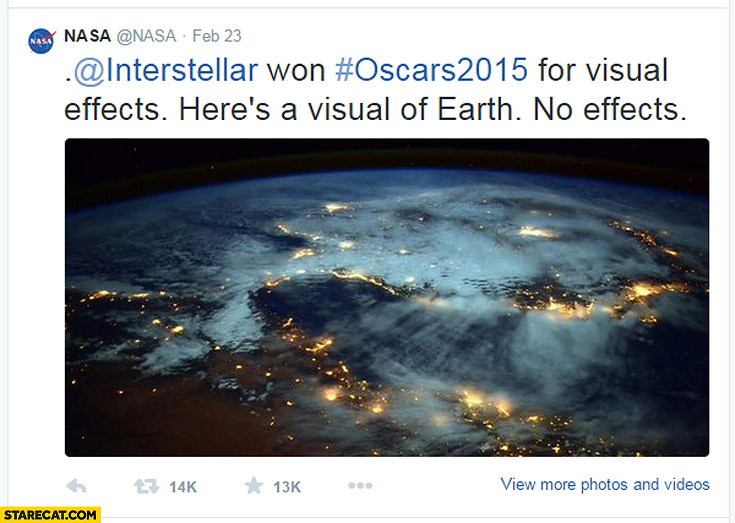 Interstellar won Oscars for visual effects here's a visual of earth no effects NASA twitter