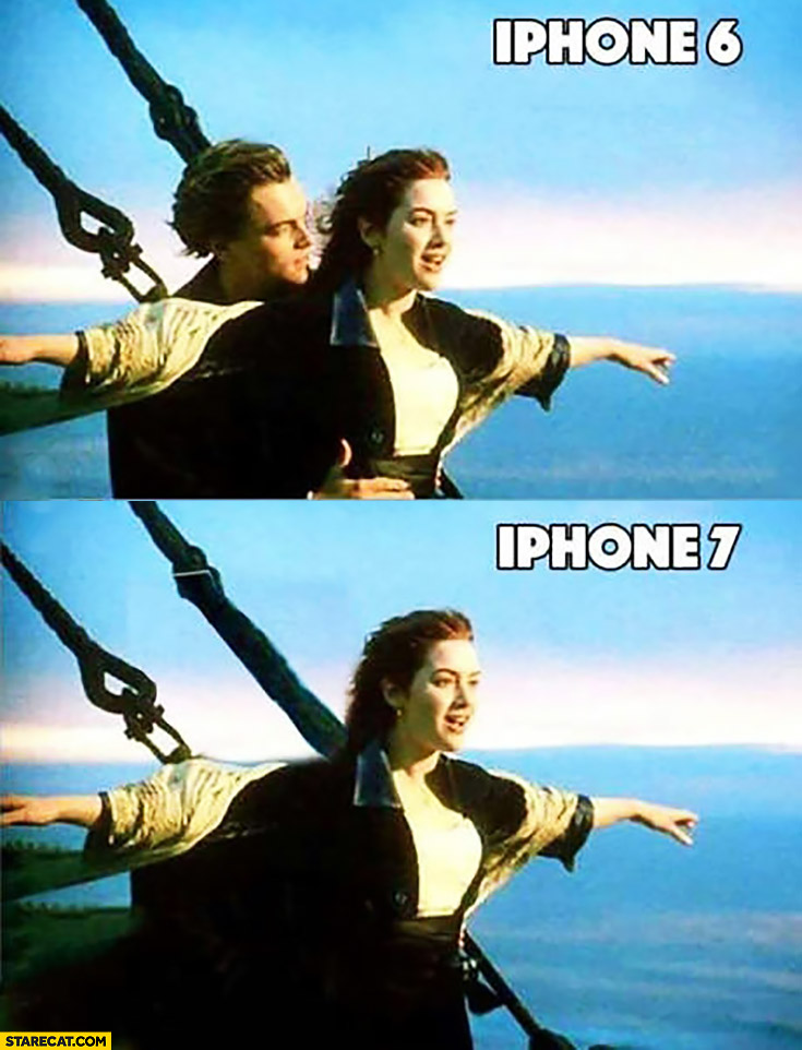 iPhone 7 no headphones jack Titanic meme