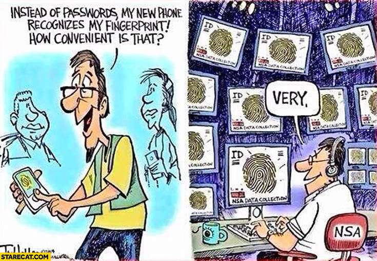 iPhone fingerprint reader how convenient is that very NSA