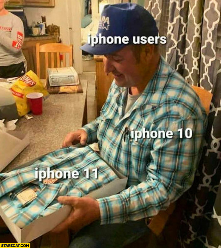 iPhone users be like happy getting the same iPhone 10, 11 man getting shirt just as the one he is wearing