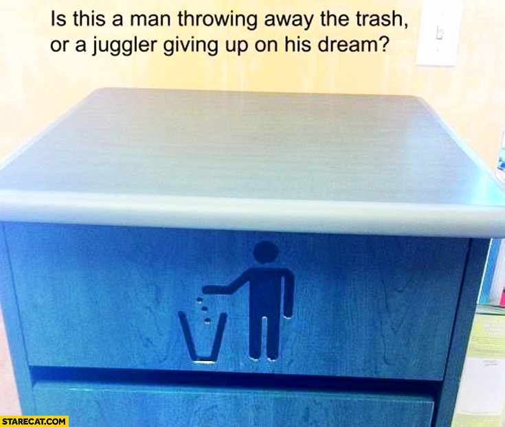 Is this a man throwing away the trash or a juggler giving up on his dream? bin icon