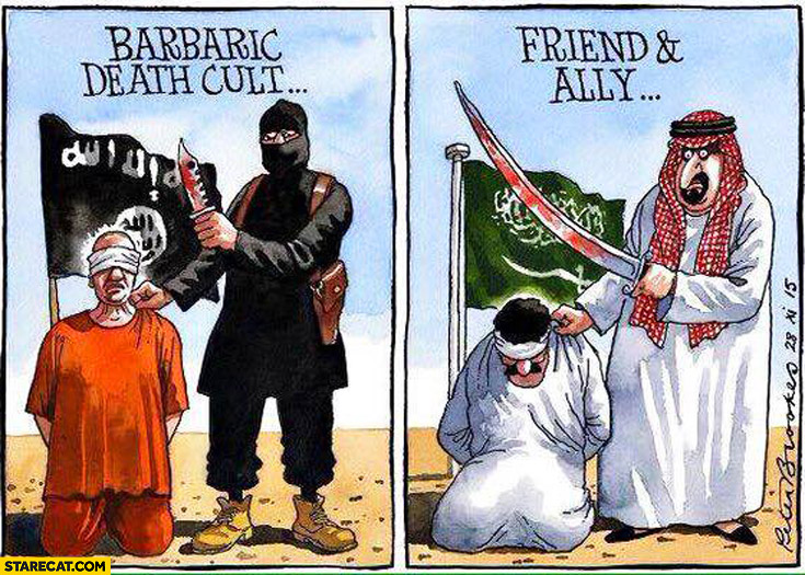 ISIS barbaric death cult, Saudi Arabia friend and ally drawing comparison