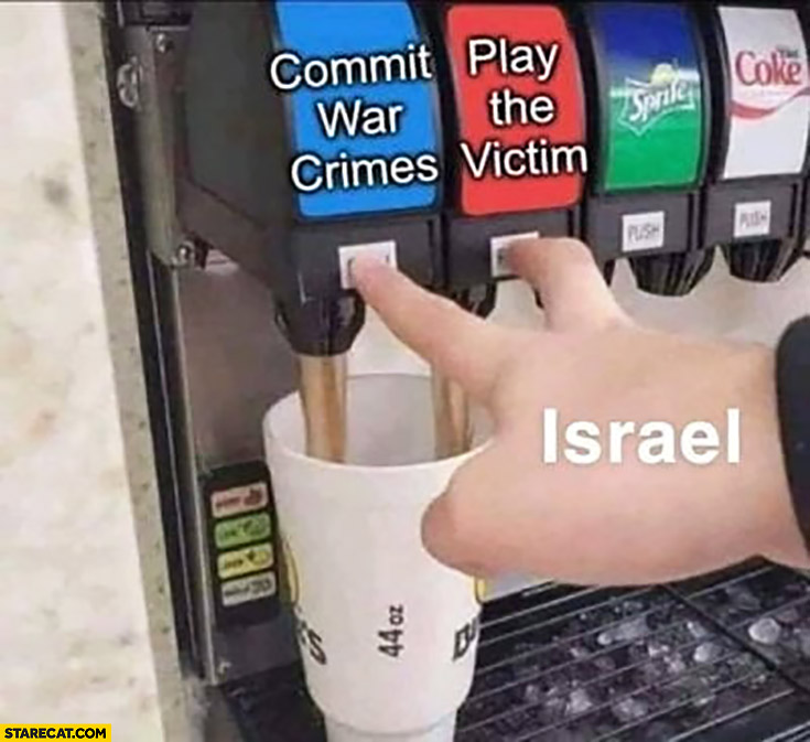 Israel commit war crimes, play the victim can't decide