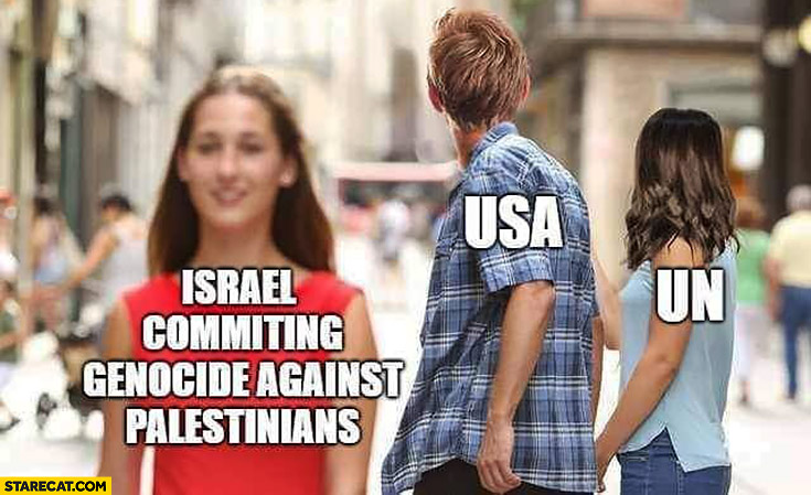 Israel commiting genocide against palestinians, USA and US looking the other way red dress meme
