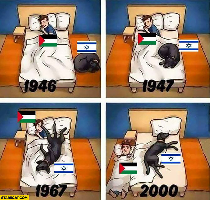Israel Palestine dog on a bed years 1946 1947 1967 2000