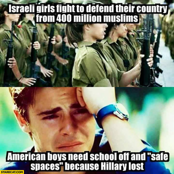 "Israeli girls fight to defend their country from 400 million muslims, American boys need shool off and ""safe spaces"" because Hillary Clinton lost"