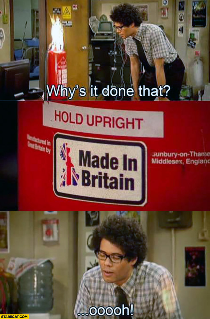 IT Crowd fire extinguisher on fire whys it done that made in Britain