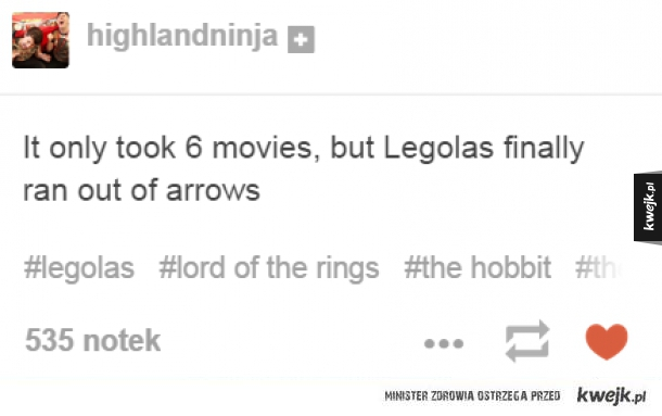 It only took 6 movies but Legolas finally ran out of arrows