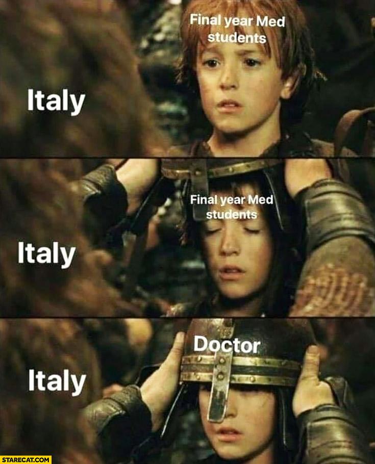 Italy making final year med students doctors kid helmet