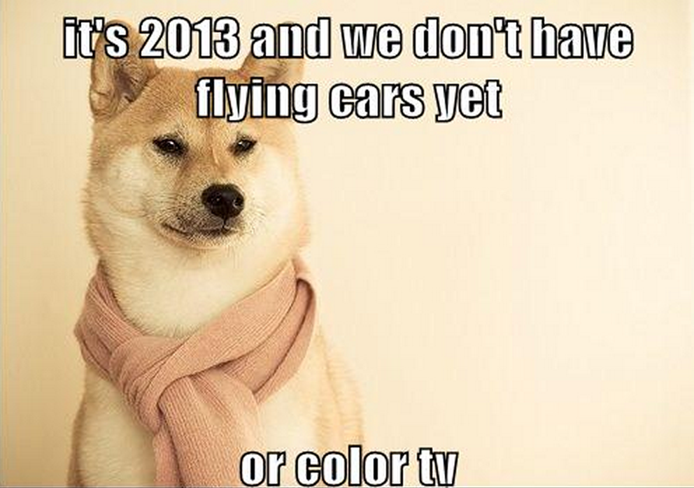 It's 2013 and we don't have flying cars yet or color TV doge