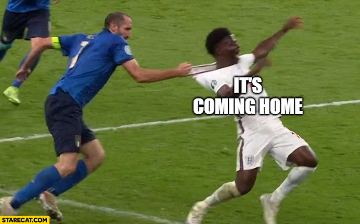 It's coming home Chiellini pulling Saka by shirt from behind Euro 2020