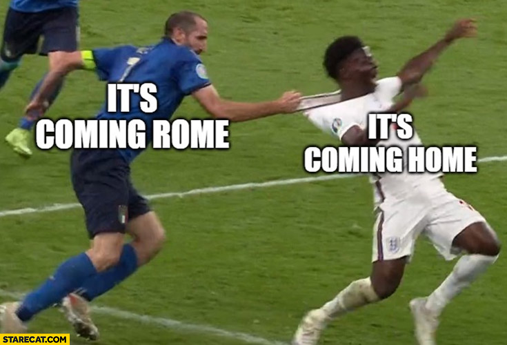 It's coming home, nope it's coming Rome Chiellini pulling Saka by shirt from behind euro 2020