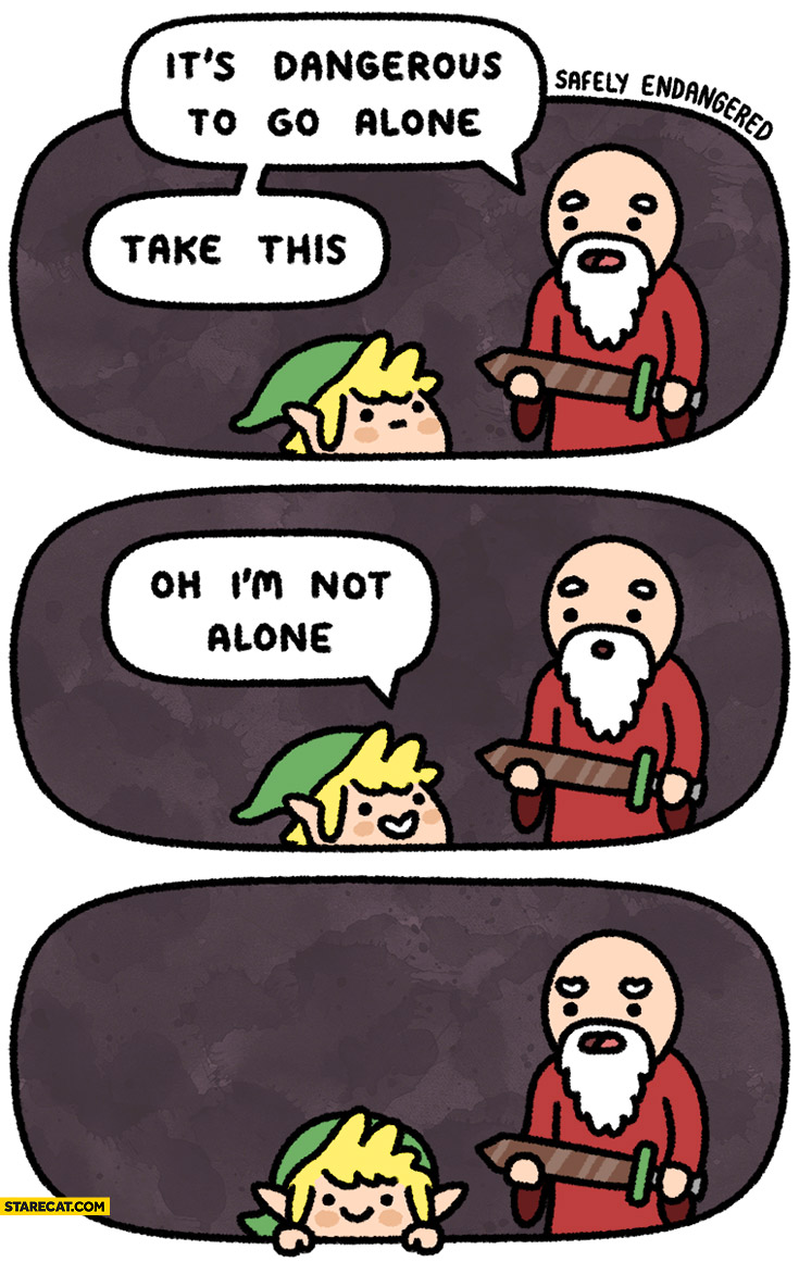 It's dangerous to go alone take this. Oh I'm not alone Zelda