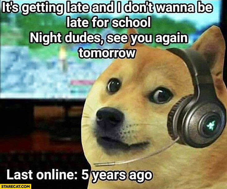 It's getting late and I don't wanna be late for school, night dudes, see you again tomorrow. Last online: 5 years ago doge meme