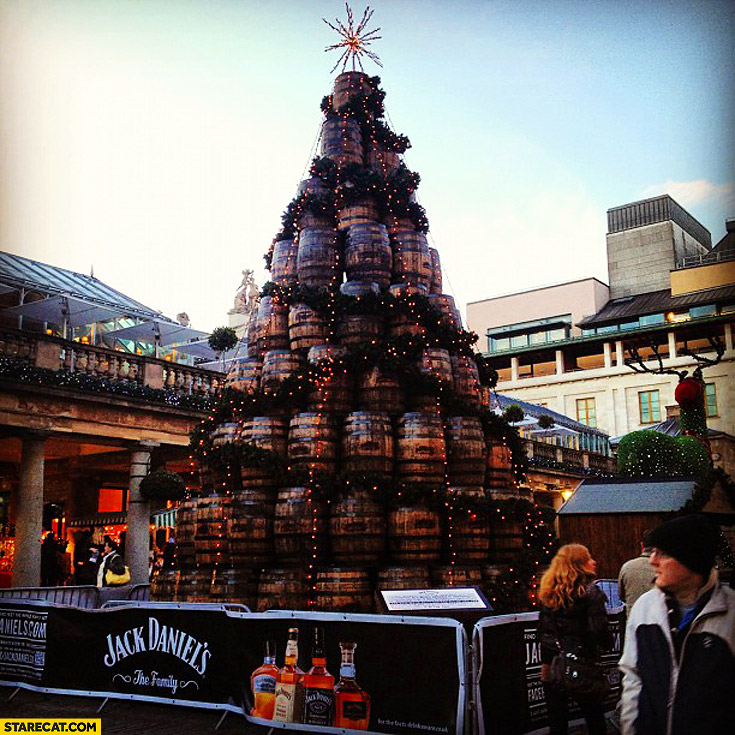 Jack Daniels barrels christmas tree