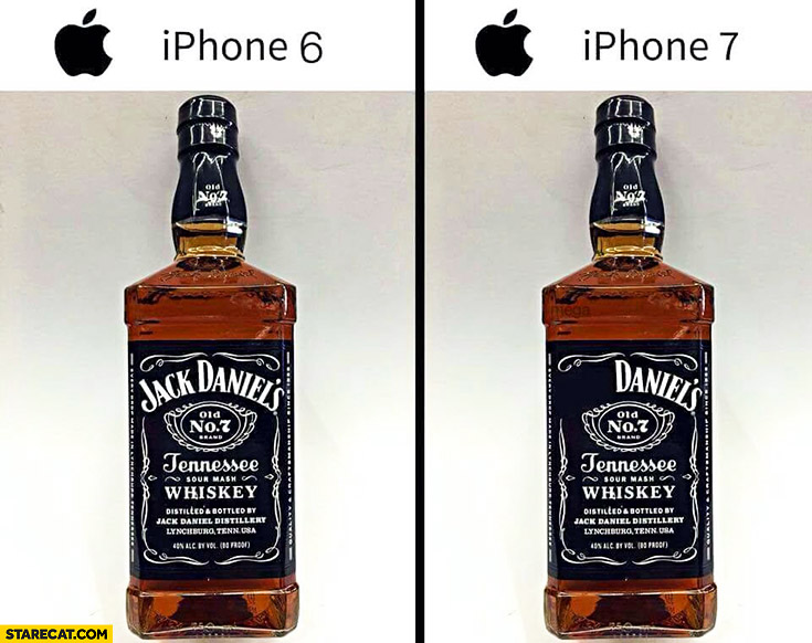 Jack Daniels iPhone 6, no Jack iPhone 7