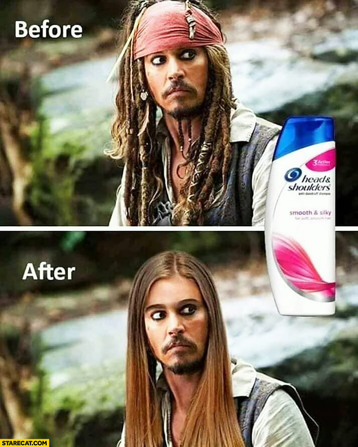 Jack Sparrow before and after Head and shoulders shampoo hair