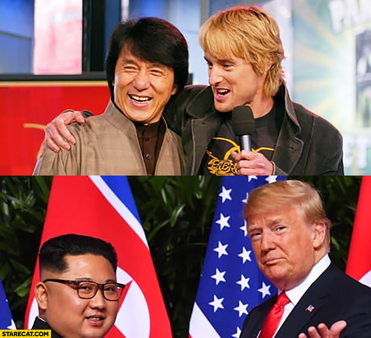 Jackie Chan, Owen Wilson in the past vs now Kim Jong Un Donald Trump