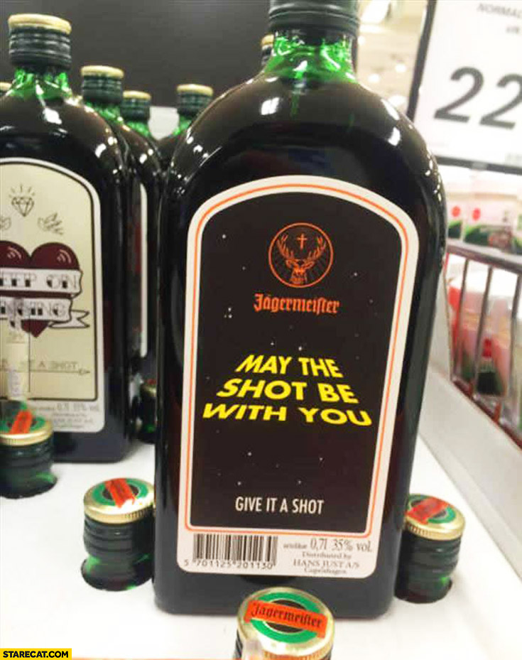 Jagermeister bottle may the shot be with you Star Wars
