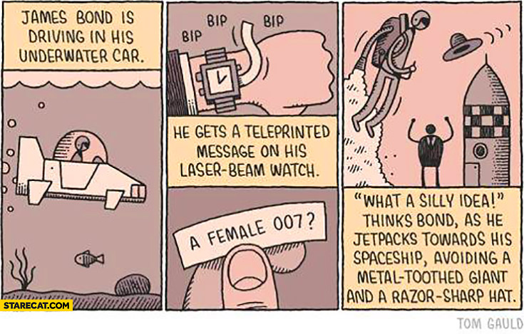 James Bond gets a message a female 007 what a silly idea comic